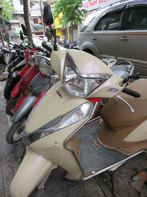 Parked scooters in Ho Chi Minh City Vietnam