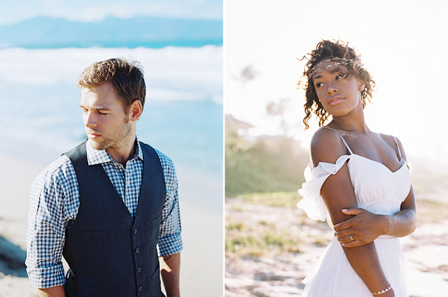 Portraits of wedding couple on a Maui Beach