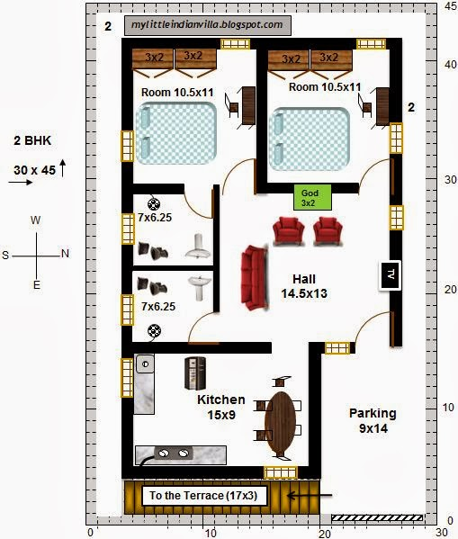 My Little Indian Villa: #8#R3 2 BHK In 30x45 (East Facing