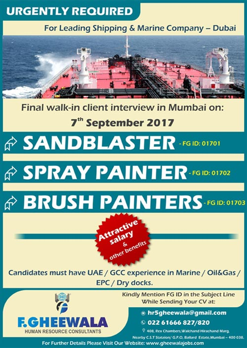 Shipping - Marine Company Jobs in Dubai | Sand Blaster + Spray Painter + Brush Painters