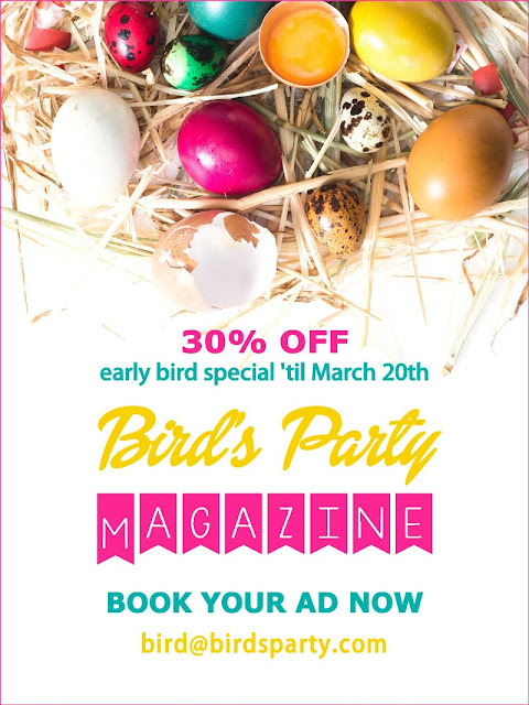 Only 2 days left to grab your place in the Easter edition of Bird's Party Magazine from only $50! Rates are 30% off until march 19 only, so email bird(at)birdsparty(dot)com now to book your spot!!