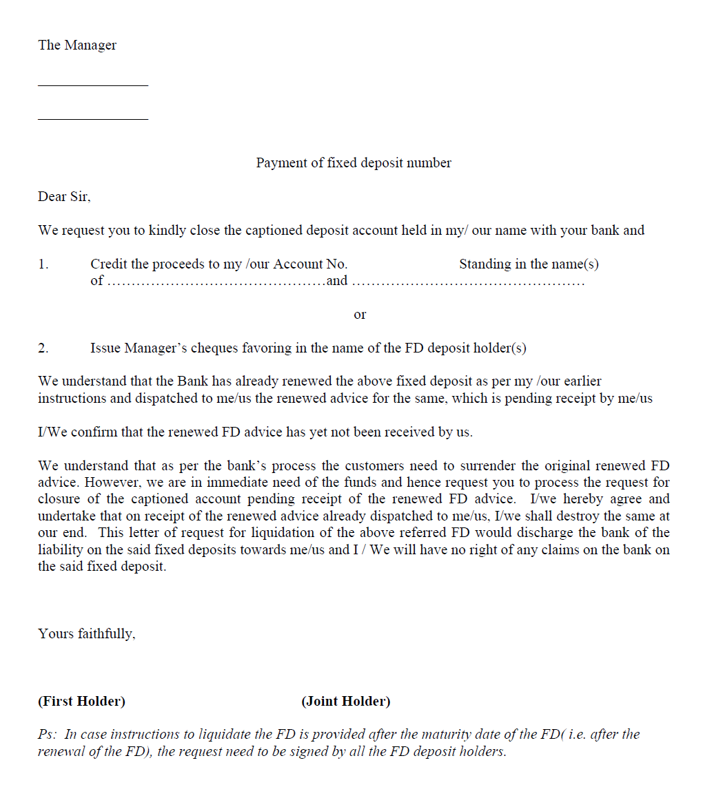 Request Letter For Closing Fixed Deposit - Fixed Deposit