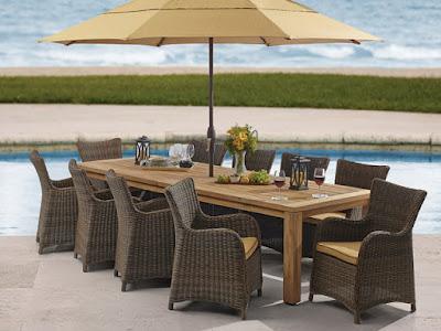 meja makan payung taman rotan sintetis