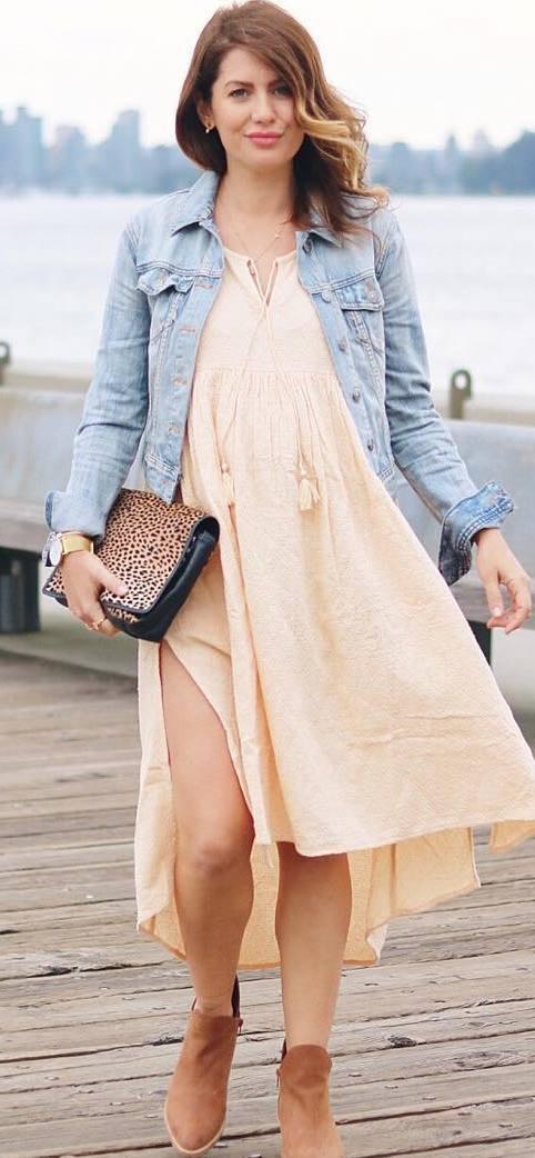 beautiful outfit / denim jacket + dress + boots + bag