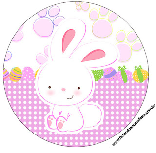 Easter Bunny with Pink and Squares: Free Printable Candy Bar Labels.