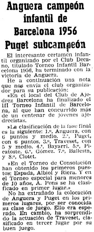 III Torneo Infantil de Barcelona 1956, recorte de Mundo Deportivo