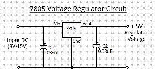 Simple 7805 Voltage Regulator Circuit Supreem Circuits Diagram and