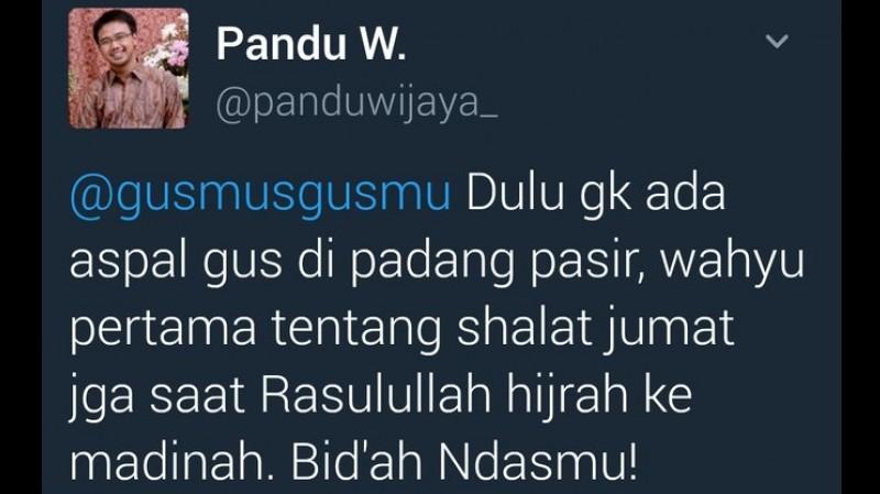 Pandu Wijaya sebut Gus Mus Bid'ah Ndasmu