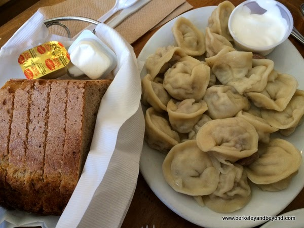 pelmeni dumplings at Cinderella Bakery & Cafe in San Franicsco
