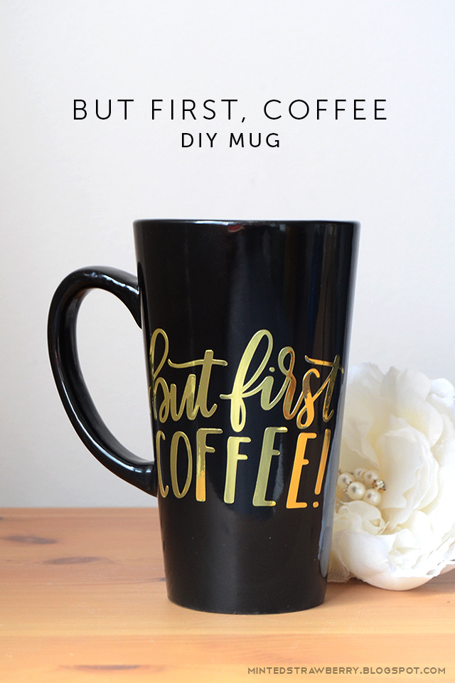 but first coffee mug minted strawberry handlettered