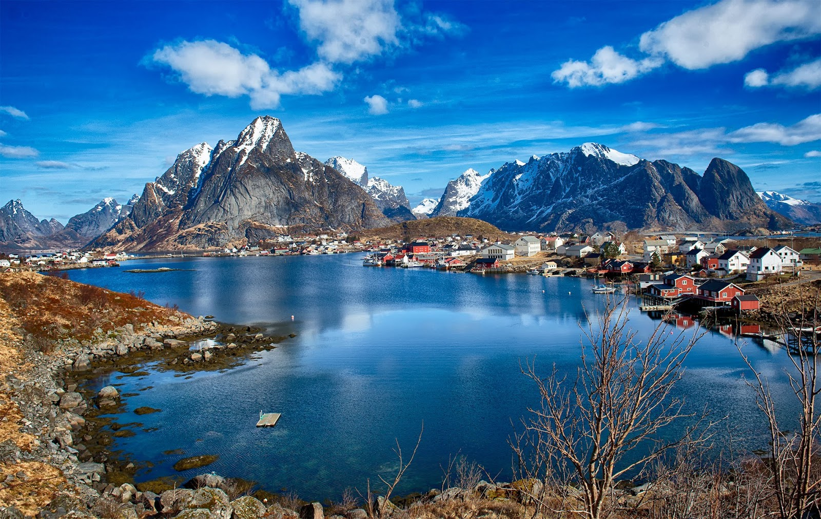 Aerial view of Reine in the Lofoten-Island archipelago.