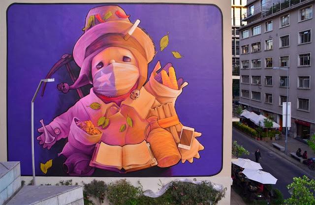 Two New Murals By Chilean Artist INTI in Santiago de Chile For The Hecho En Casa Street Art Festival. 2