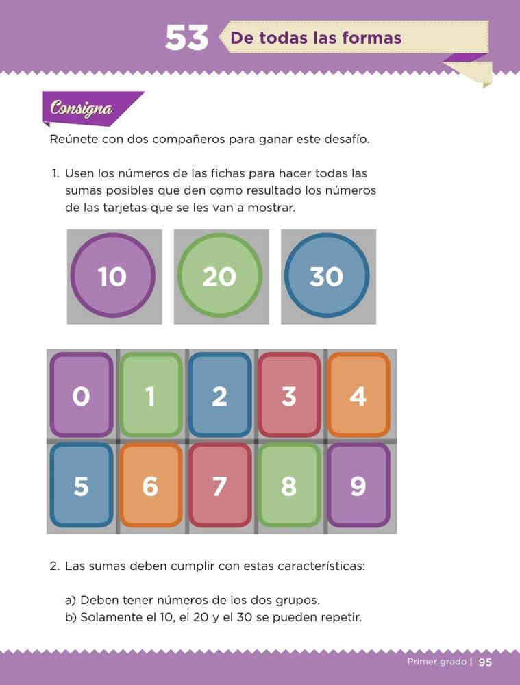 Libro de textoDesafíos MatemáticosDe todas las formasPrimer gradoContestado