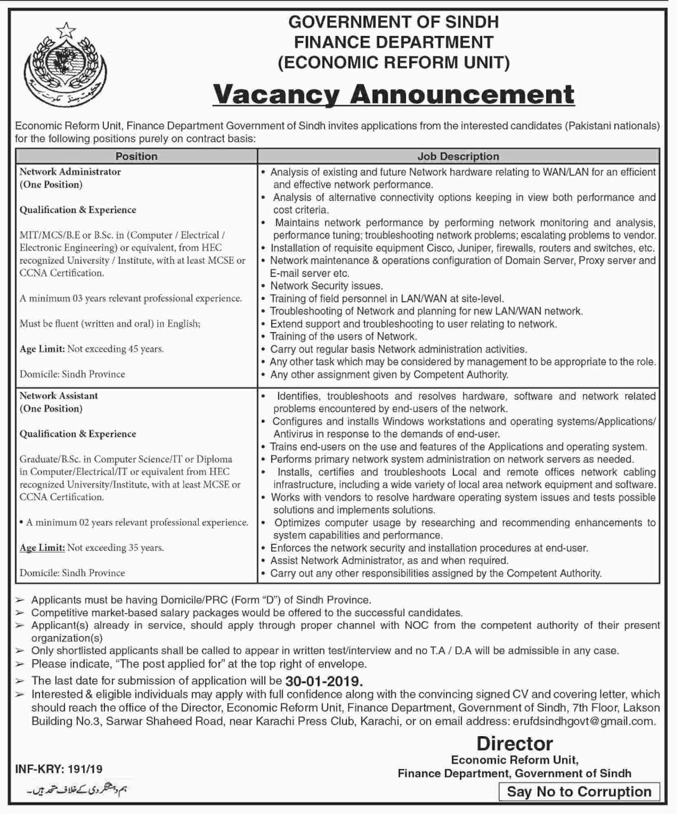 Jobs Vacancies In Finance Department Govt Of Sindh 14 January 2019