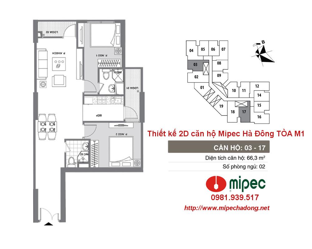 Hình ảnh Thiết kế căn hộ Mipec Hà Đông tòa M1 Căn 03 và 17