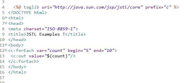 JSP Standard Tag Library Tutorial (JSTL), JSTL Tags - Javastudypoint