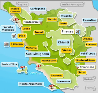 Mapa de la Toscana.