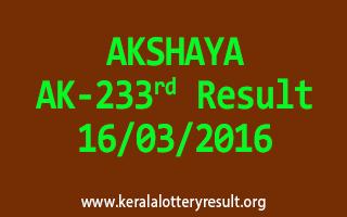 AKSHAYA AK 233 Lottery Result 16-3-2016