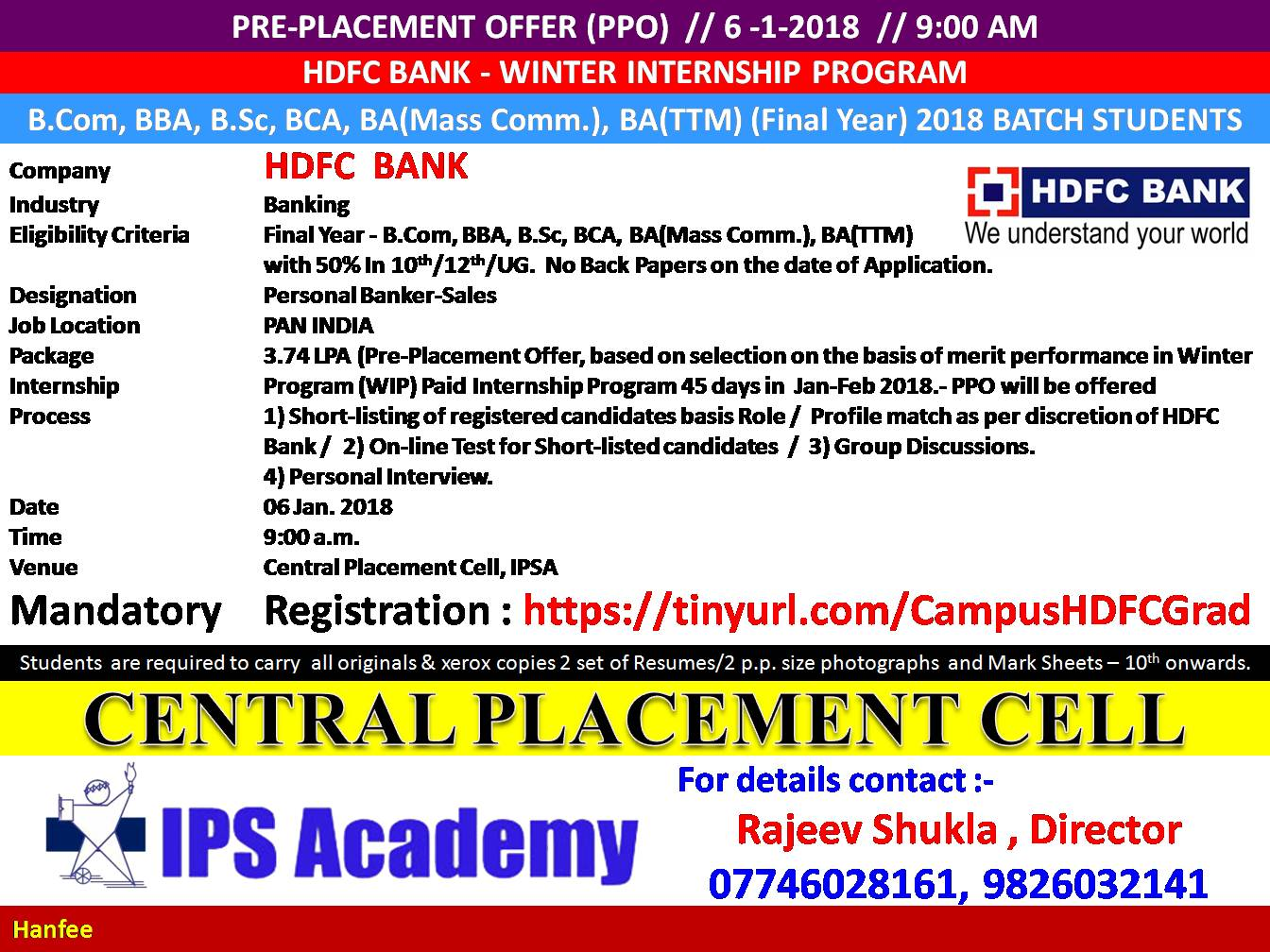 Central Placement Cell: HDFC Bank Campus Drive MBA , PGDM 2018 Batch students