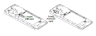 Insert the SIM card and the microSD card