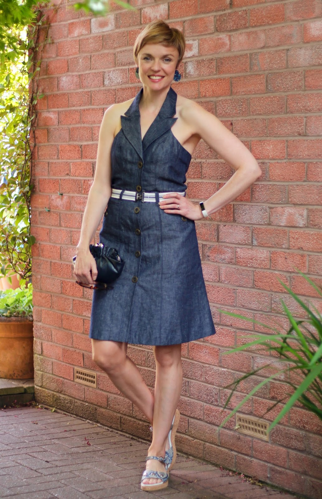 Denim Halter Dress & Calla Sandals | Summer outfit | Fake Fabulous