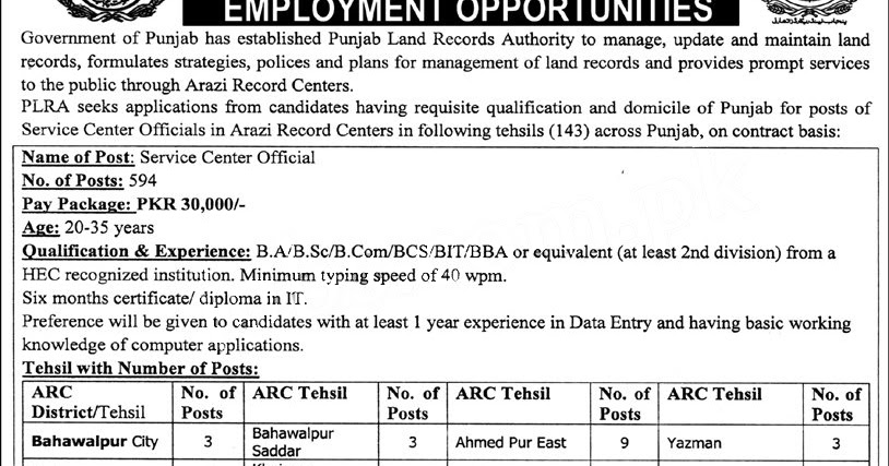 600  government jobs in punjab land records authority jobs