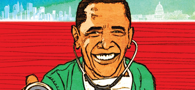 Caricature de Barack Obama en médecin de l'Amérique