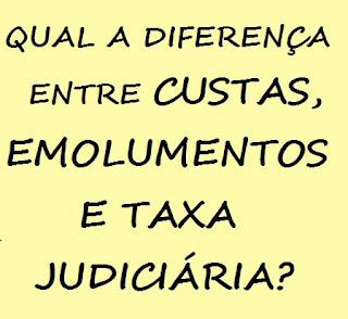 custas, emolumentos e taxa judiciária: conceito, diferenças, semelhanças