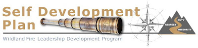 Self-development plan banner on the Forest Fire Leadership Development Web page (compass, WFLDP logo and telescope)