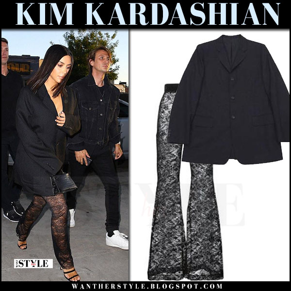 Kim Kardashian in black lace sheer blamain pants and black blazer comme de garcons what she wore may 2017