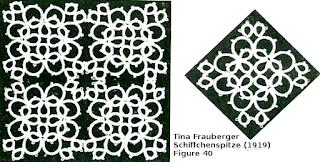patchwork carré en frivolité Tina Frauberger Schiffchenspitze (1919)