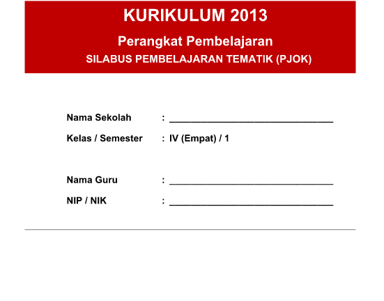 Silabus Integrasi PJOK SD Kelas 4 Kurikulum 2013 Revisi 2016