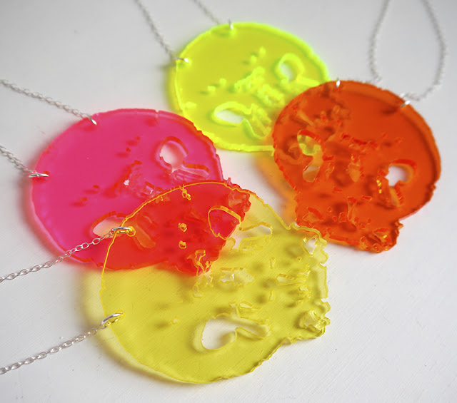 Charcot, MS Awareness Week, MS inspired jewellery, Scottish Blogger, Scottish designer, skull necklace, neon necklaces, neon jewellery, colourful scarf, silk scarf, colourful jewellery, MS design, #strongerthanms