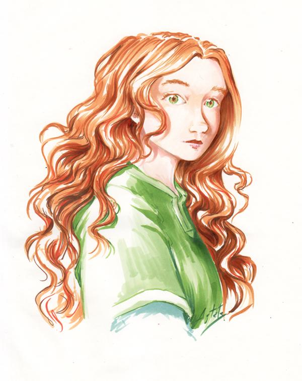 Portrait d'une rouquine - Marguerite - dessin aux copics