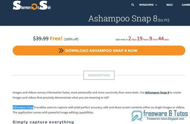 Offre promotionnelle : Ashampoo Snap 8 gratuit (3 jours) !