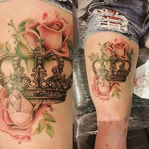 woman leg crown tattoo kadın bacak taç dövmesi