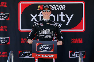 John Hunter Nemechek poses with the Pole Award after posting  the fastest lap during qualifying. (November 10, 2018)