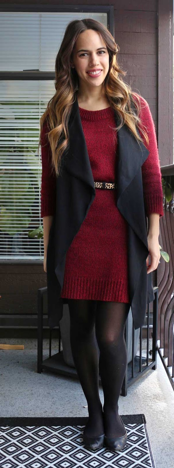 Jules in Flats - Joe Fresh Sweater Dress, Dynamite Waterfall Vest, Leopard Print Belt