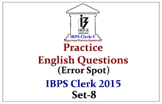 Race IBPS Clerk 2015- Practice English Questions