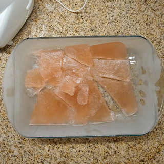 frozen rosé in chunks in a 9x13 glass pan
