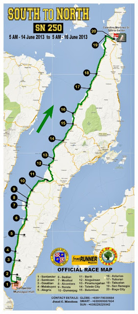 Official Race Map - South to North 250 Marathon Cebu Philippines