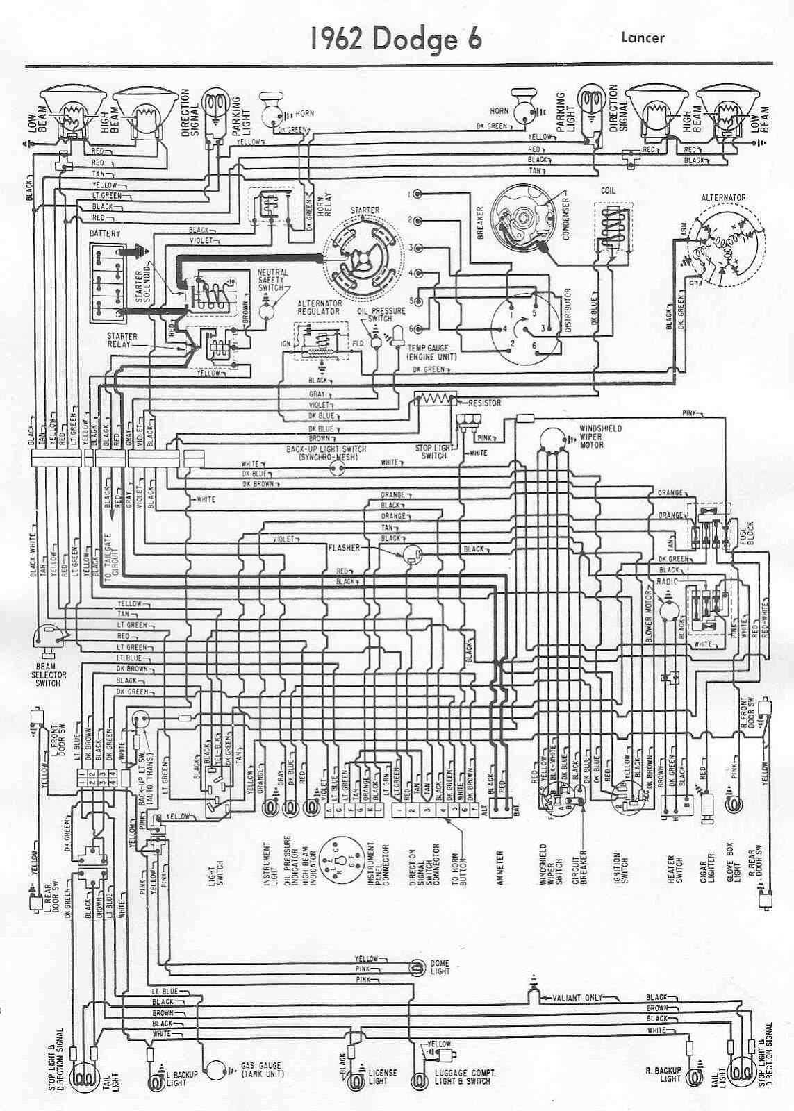 Dodge Lancer 1962 Complete Electrical Wiring Diagram