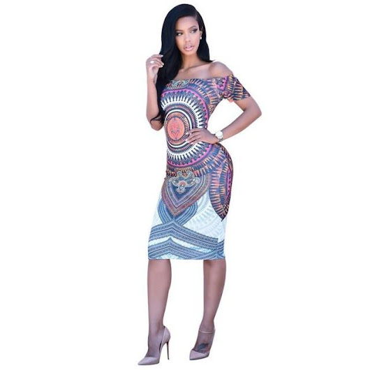 Dashiki Bodycon Sexy Short Sleeve Mini Dresse