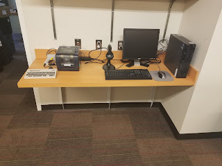 New desk with desktop computer in the Little Falls staff area