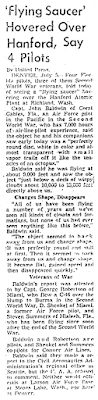 Flying Saucer Hovers Over Hanford Atomic Plant – United Press 7-5-1952