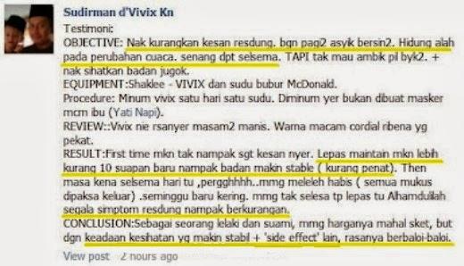 Testimoni Pengguna Vivix Shaklee untuk masalah Resdung teruk