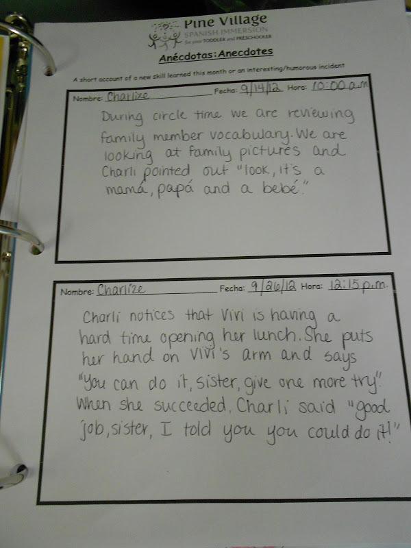 Anecdotal records for pre school