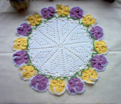 Pretty Pansy Doily - Yellow and Lavender Pansies - Handmade Crochet By Crochet By MSA