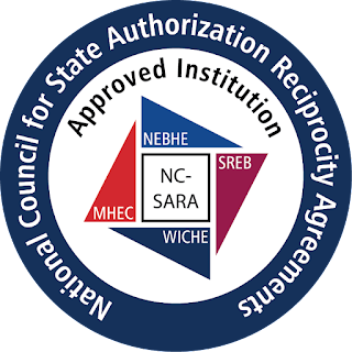 Blue circle text: National Council for State Authorization Reciprocity Agreement. White inner circle Text: Approved institution with four colored triangles in two shades of blue, pink and orange Text: NEBHE, SREB, MHEC, WICHE, In the middle NC-SARA