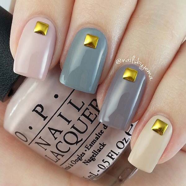 Winter nail art ideas 2016 fashion newbys multi colored matte and gold beaded winter nail art dont hesitate to make your nails look amazing with a simple embellishment on top prinsesfo Images